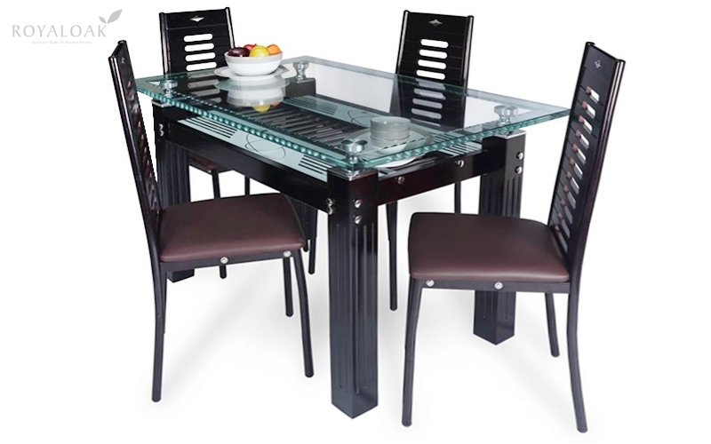 Buy Royaloak County 4 Seater Dining Set With Tempered Glass Top And Pertaining To Glass Top Oak Dining Tables (View 14 of 25)