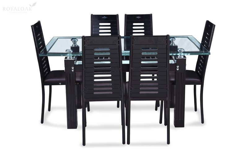 Buy Royaloak County 6 Seater Dining Set With Tempered Glass Top And With Regard To 6 Seater Glass Dining Table Sets (Image 8 of 25)