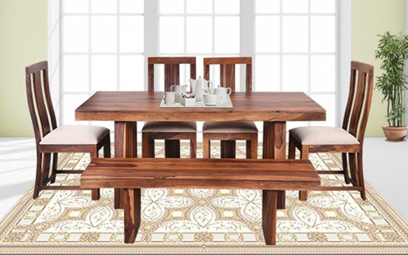 Buy Royaloak Crystal 6 Seater Sheesham Wood Dining Set With Bench Within Crystal Dining Tables (View 5 of 25)