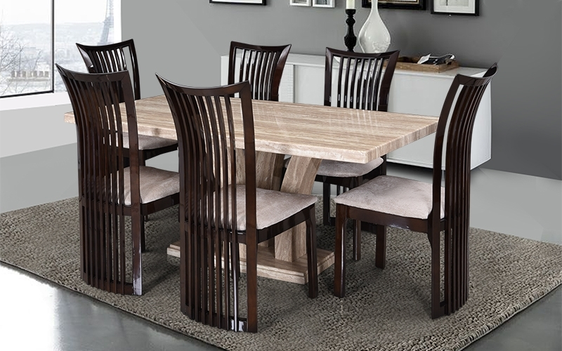 Buy Royaloak Elegant 6 Seater Oak Wood Dining Set With Italian Intended For Oak 6 Seater Dining Tables (Image 11 of 25)