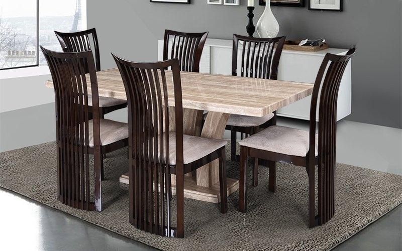 Buy Royaloak Elegant 6 Seater Oak Wood Dining Set With Italian With Wood Dining Tables (Image 2 of 25)