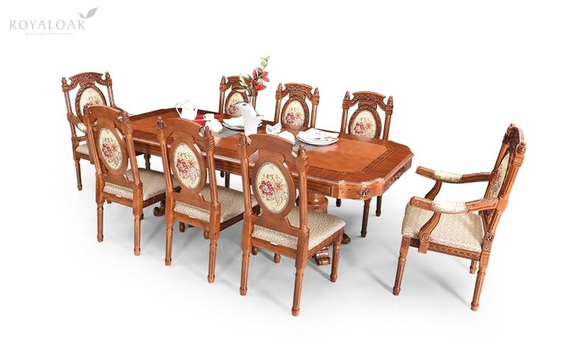 Buy Royaloak Empire 8 Seater Dining Set With Cushioned Chairs Intended For Dining Tables For Eight (Image 5 of 25)