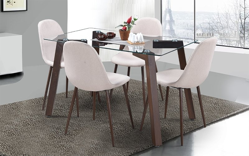 Buy Royaloak Fortuna 4 Seater Dining Set With Glass Table Top Pertaining To Dining Room Glass Tables Sets (Image 8 of 25)