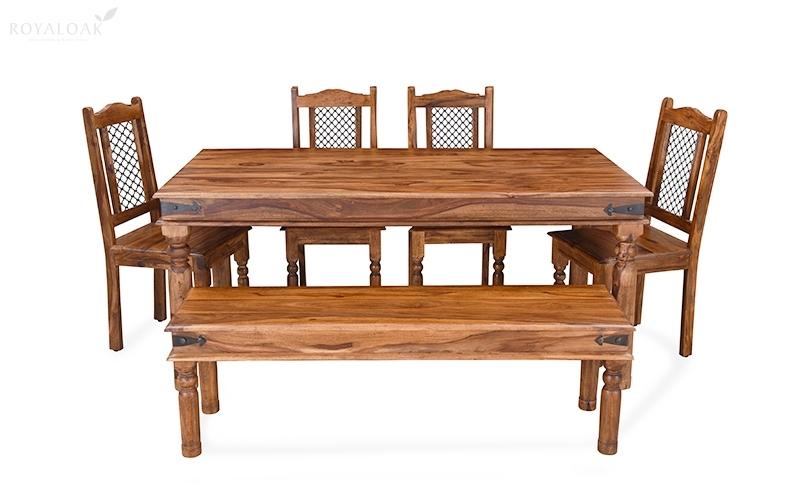 Buy Royaloak Haveli 6 Seater Dining Table In Sheesham Woodonline Throughout Sheesham Wood Dining Tables (Image 3 of 25)