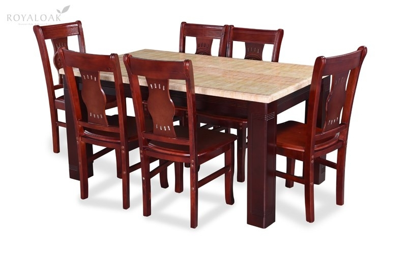 Buy Royaloak Lido 6 Seater Dining Set With Art Marble Table Top Within Wooden Dining Tables And 6 Chairs (Image 5 of 25)