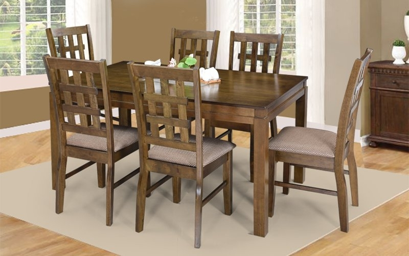 Buy Royaloak Lilly 6 Seater Solidwood Dining Set With Cushioned Within 6 Seat Dining Table Sets (View 16 of 25)