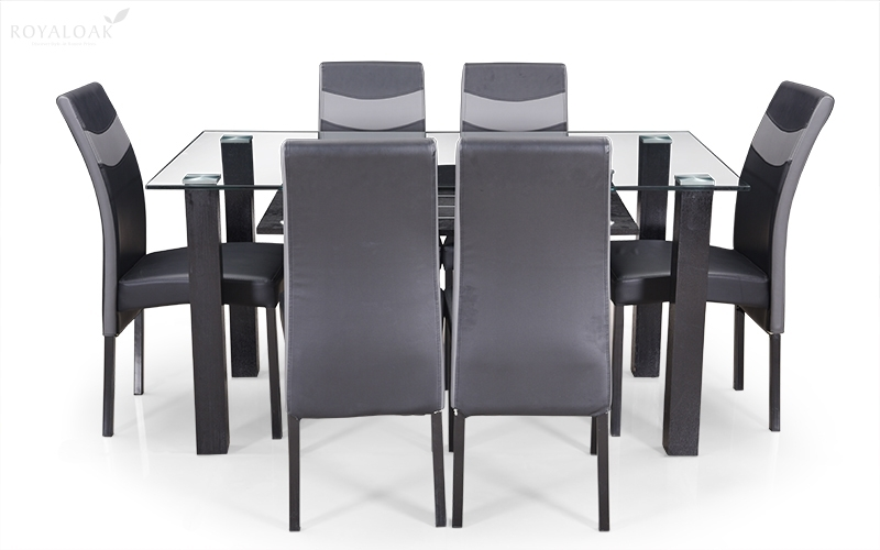 Buy Royaloak Micra 6 Seater Dining Set With Tempered Glass Top And Pertaining To Glass 6 Seater Dining Tables (Image 8 of 25)