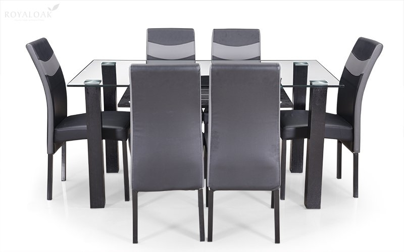 Buy Royaloak Micra 6 Seater Dining Set With Tempered Glass Top And Regarding 6 Seat Dining Tables And Chairs (Image 14 of 25)