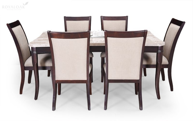 Buy Royaloak Oscar 6 Seater Dining Set With Italian Natural Marble Throughout Dining Tables For Six (Image 7 of 25)