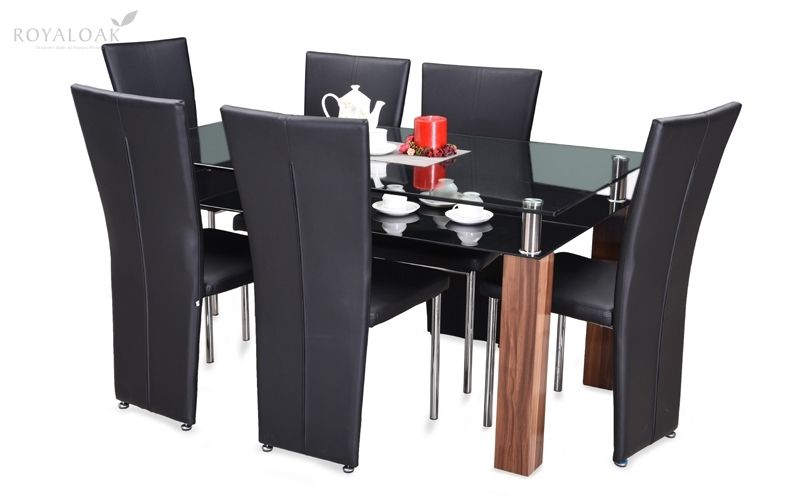 Buy Royaloak Paris 6 Seater Dining Set With Tempered Glass Table Top Throughout Paris Dining Tables (Image 5 of 25)