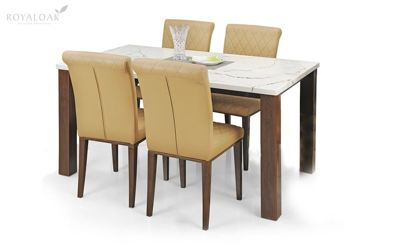 Buy Royaloak Pearl 4 Seater Dining Set With Cushioned Chairs And With Regard To 4 Seat Dining Tables (Image 13 of 25)