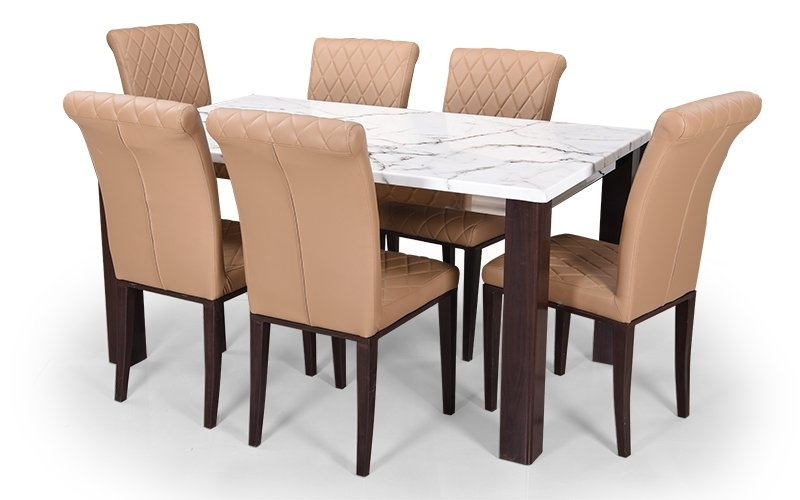 Buy Royaloak Pearl 6 Seater Dining Set With Cushioned Chairs And Within 6 Seat Dining Table Sets (Image 13 of 25)