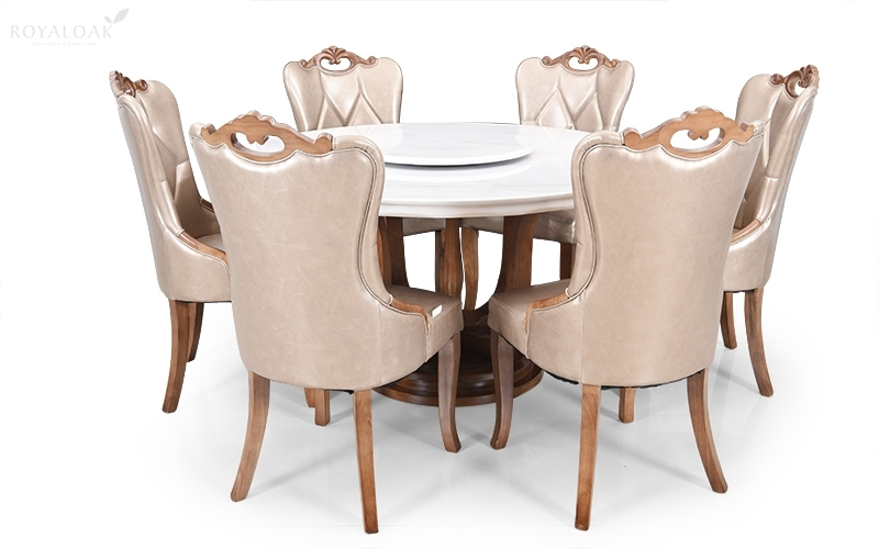 Buy Royaloak Reyan 6 Seater Solid Oakwood Dining Set With Italian Throughout Oak 6 Seater Dining Tables (Image 13 of 25)