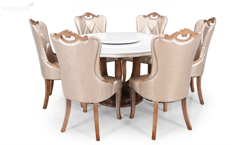Buy Royaloak Reyan 6 Seater Solid Oakwood Dining Set With Italian Throughout Round 6 Seater Dining Tables (Image 7 of 25)