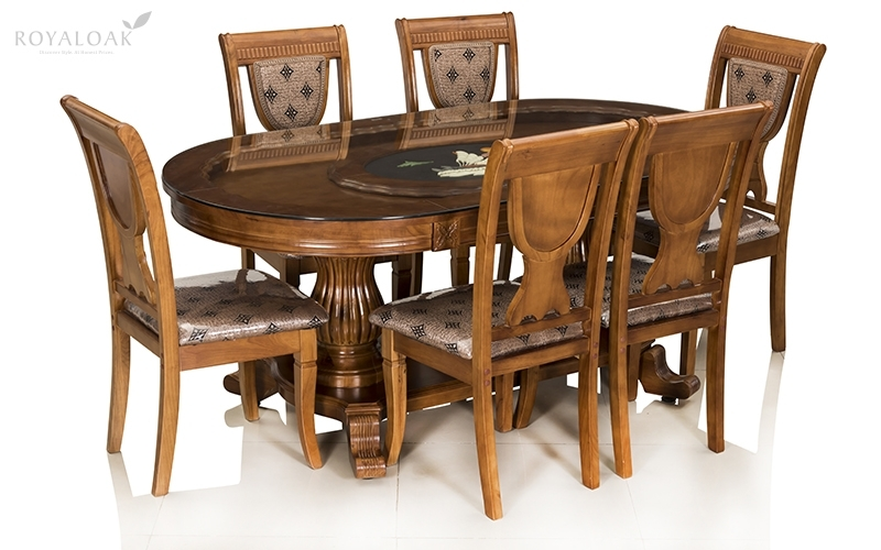 Buy Royaloak Titan 6 Seater Solid Oakwood Dining Set With Tempered Intended For Glass 6 Seater Dining Tables (Image 9 of 25)
