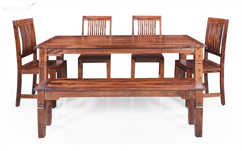 Buy Royaloak Vernis 6 Seater Sheesham Wood Dining Setonline In Pertaining To Sheesham Wood Dining Tables (View 20 of 25)
