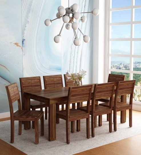Buy Segur Solid Wood Eight Seater Dining Set In Provincial Teak In Eight Seater Dining Tables And Chairs (View 23 of 25)