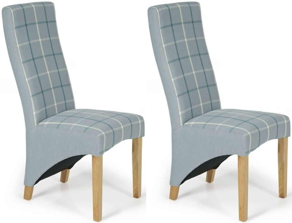 Buy Serene Hammersmith Archer Tartan Fabric Dining Chair With Oak Pertaining To Oak Fabric Dining Chairs (Image 5 of 25)