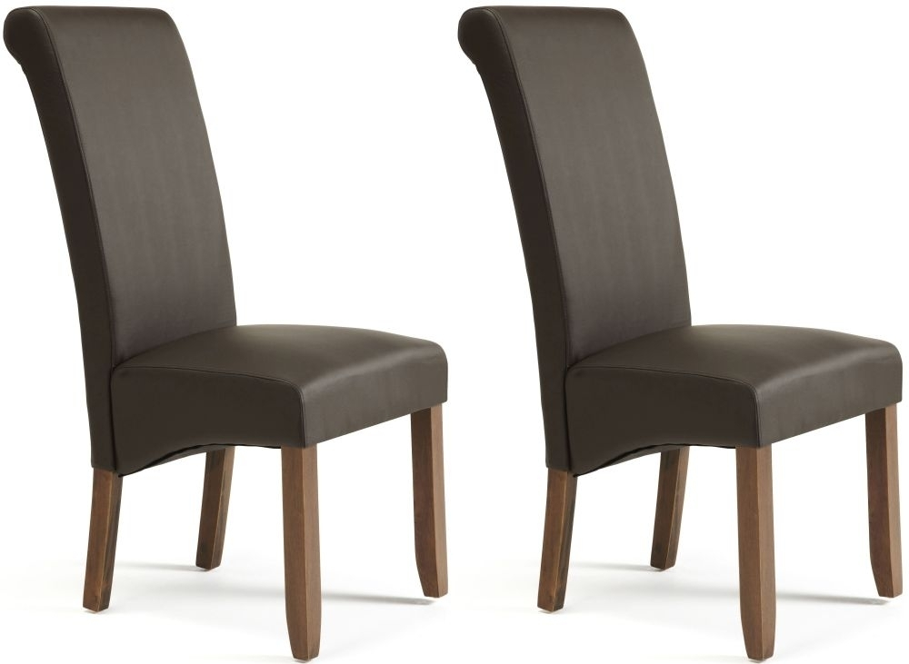 Buy Serene Kingston Brown Faux Leather Dining Chair With Walnut Legs In Brown Leather Dining Chairs (View 7 of 25)
