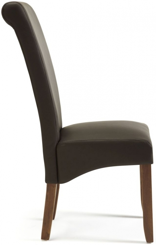 Buy Serene Kingston Brown Faux Leather Dining Chair With Walnut Legs With Regard To Purple Faux Leather Dining Chairs (Image 5 of 25)