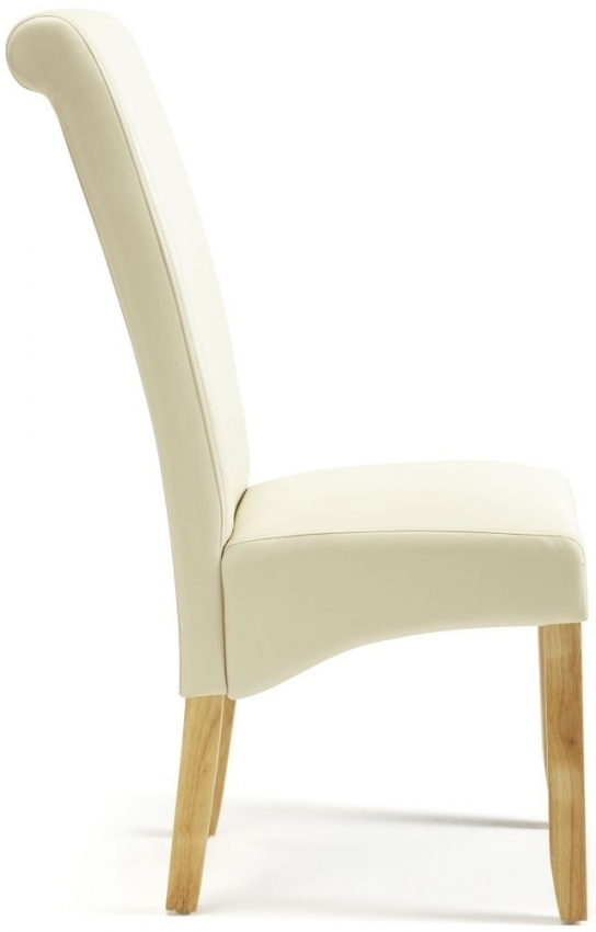 Buy Serene Kingston Cream Faux Leather Dining Chair With Oak Legs Inside Cream Leather Dining Chairs (Image 7 of 25)