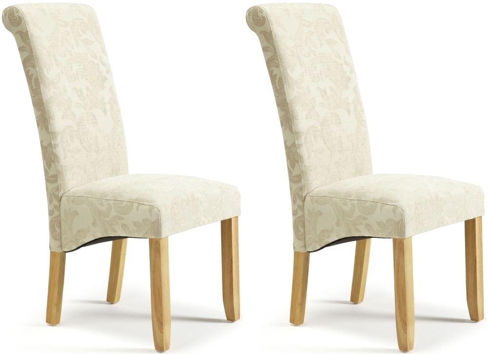 Buy Serene Kingston Cream Floral Fabric Dining Chair With Oak Legs Intended For Oak Fabric Dining Chairs (Image 6 of 25)