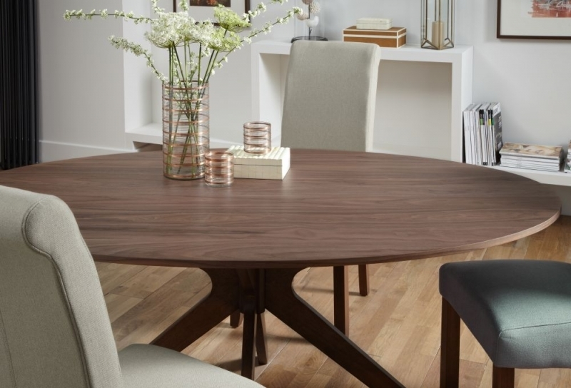 Buy Serene Waltham Walnut Oval Fixed Top Dining Table – 180Cm Online Intended For 180Cm Dining Tables (View 9 of 25)