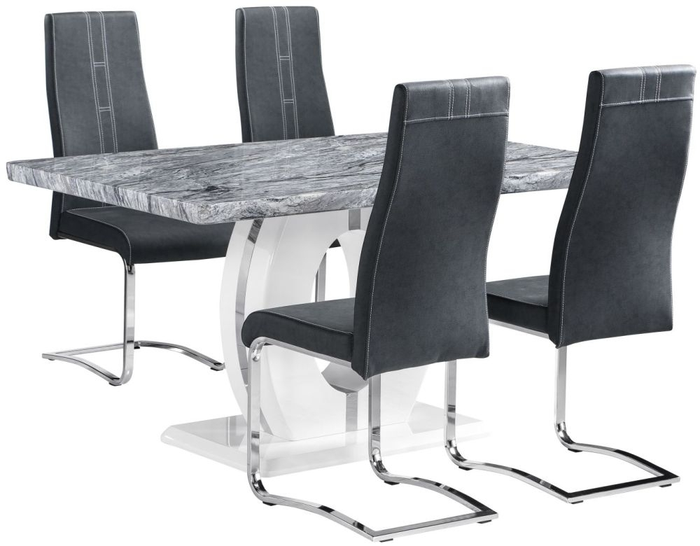 Buy Shankar Marble Effect Top Rectangular Dining Set With 4 Nova For Marble Effect Dining Tables And Chairs (Image 1 of 25)