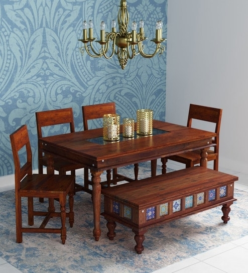 Buy Siramika Solid Wood Six Seater Dining Set With Bench In Honey Regarding Six Seater Dining Tables (View 10 of 25)