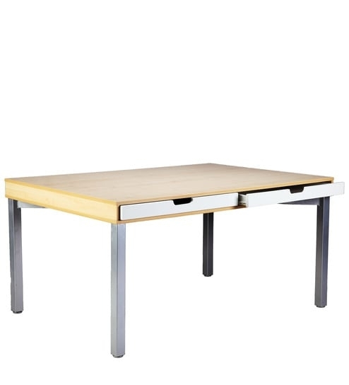 Buy Sleek Six Seater Dining Table With Drawers With Maple Finish Inside Sleek Dining Tables (View 10 of 25)