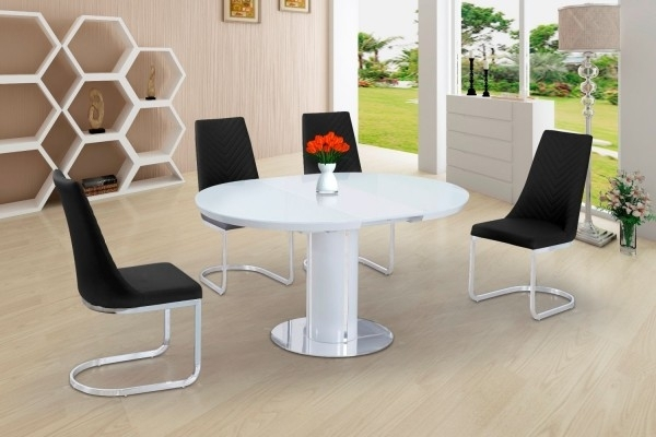 Buy Space Saving White Gloss Extending Round Dining Table For Small White Extending Dining Tables (Image 6 of 25)