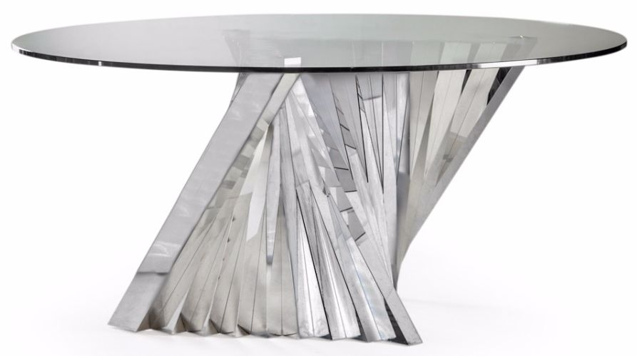 Buy Stainless Steel And Glass Turin Round Dining Table – 160Cm With Glass And Stainless Steel Dining Tables (Image 2 of 25)