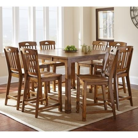 Buy Steve Silver Menton 9 Piece Counter Height Dining Table Set Within Candice Ii 5 Piece Round Dining Sets With Slat Back Side Chairs (Image 15 of 25)