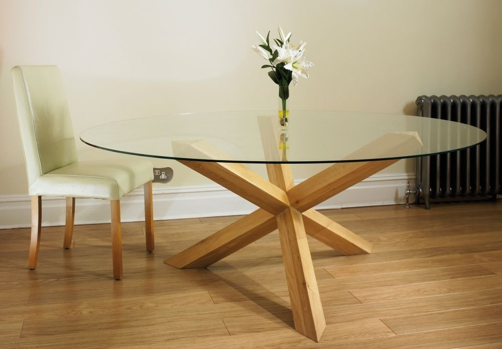 Buy Tfw New Court Solid Oak Glass Round Dining Table – Pedestal For Oak And Glass Dining Tables (View 3 of 25)
