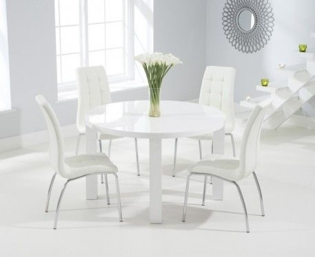Buy The Atlanta 120Cm Round White High Gloss Dining Table With For White Gloss Dining Sets (Image 5 of 25)