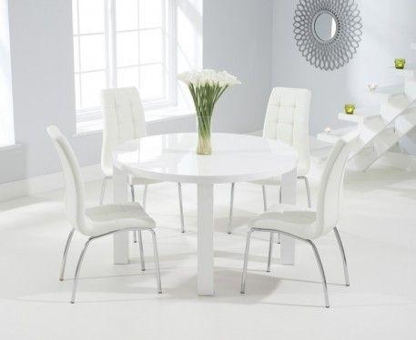 Buy The Atlanta 120Cm Round White High Gloss Dining Table With In Oval White High Gloss Dining Tables (View 8 of 25)