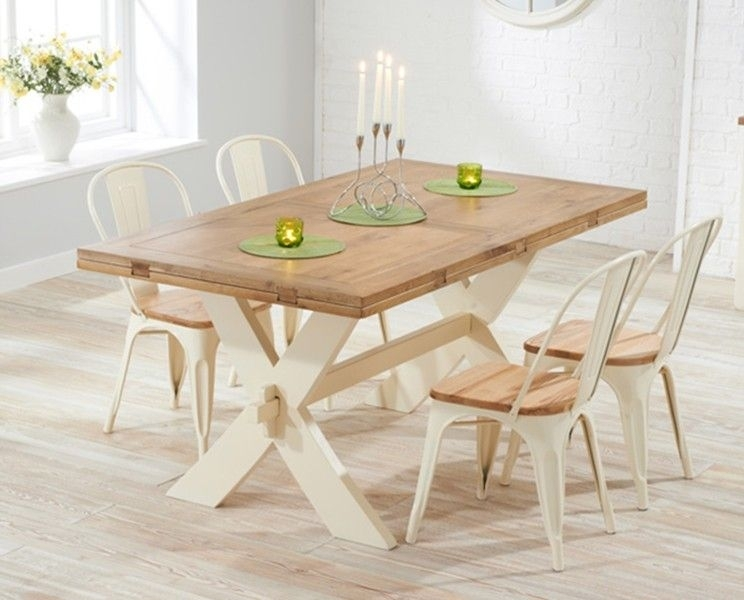 Buy The Bordeaux Oak And Cream All Sides Extending Dining Table With Regarding Cream And Oak Dining Tables (Image 3 of 25)