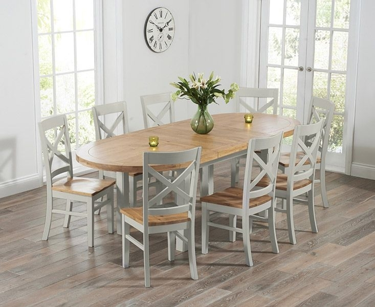 Buy The Chelsea Oak & Grey Extending Dining Table With Cavendish In Oak Furniture Dining Sets (Image 3 of 25)