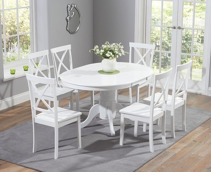 Buy The Epsom White Pedestal Extending Dining Table Set With Chairs Pertaining To Round Extending Dining Tables Sets (View 11 of 25)