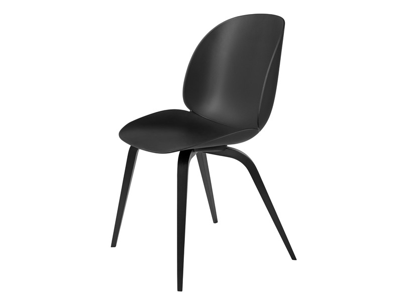Buy The Gubi Beetle Dining Chair Unupholstered Black Wood Base At With Regard To Black Dining Chairs (Image 5 of 25)