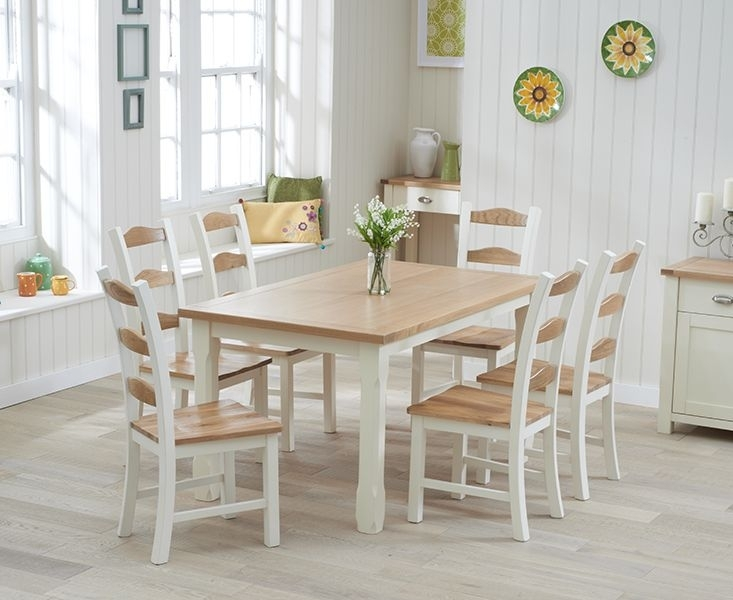 Buy The Somerset 150Cm Oak And Cream Dining Table With Chairs At Oak With Cream And Oak Dining Tables (Image 4 of 25)