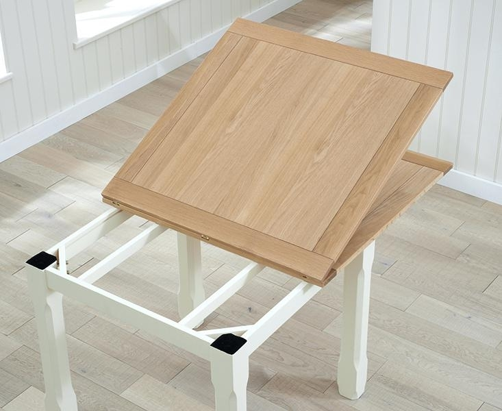 Buy The Somerset Oak And Cream Flip Top Dining Table At The With Flip Top Oak Dining Tables (Image 4 of 25)