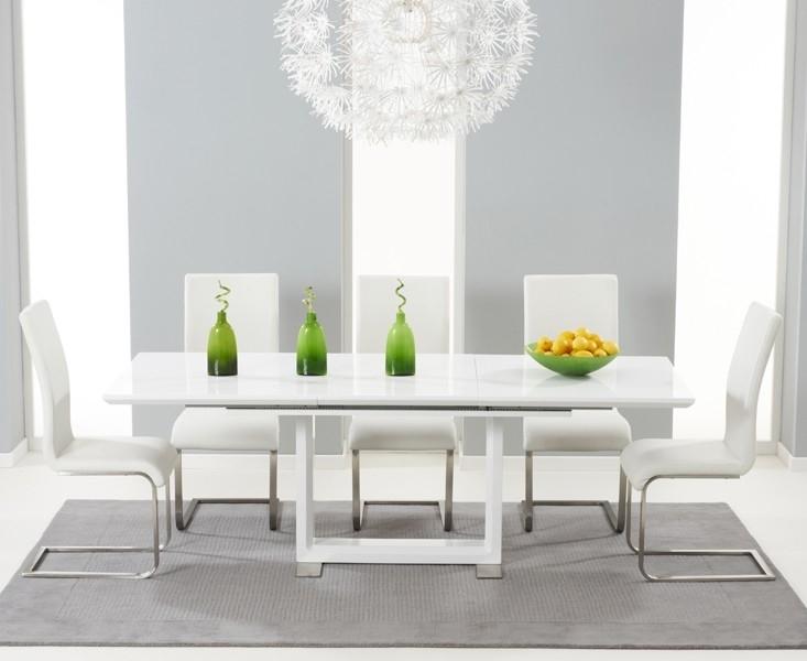 Buy Tula Extending White High Gloss Dining Table 160 220Cm Inside High Gloss Dining Tables (Image 8 of 25)