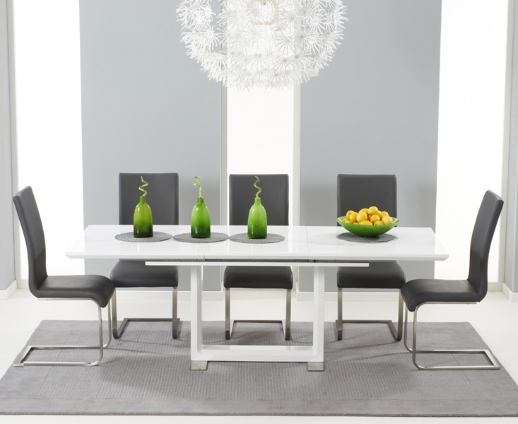 Buy Tula Extending White High Gloss Dining Table 160 220Cm Regarding Extending White Gloss Dining Tables (Image 5 of 25)