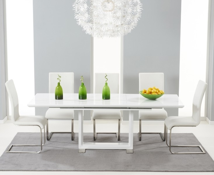 Buy Tula Extending White High Gloss Dining Table 160 220Cm With High Gloss Dining Furniture (Image 6 of 25)