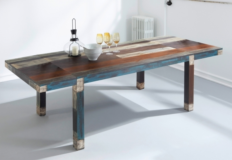 Buy Urban Vintage Shabby Chic Rectangular Extending Dining Table Regarding Shabby Chic Extendable Dining Tables (View 24 of 25)