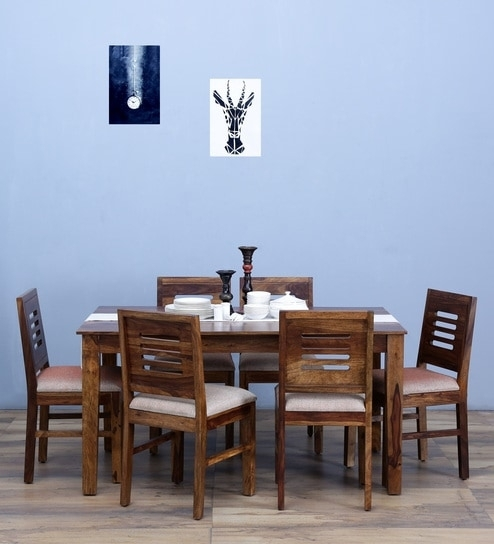 Buy Valencia Six Seater Cushioned Dining Set In Provincial Teak Inside Valencia 72 Inch 7 Piece Dining Sets (Image 5 of 25)