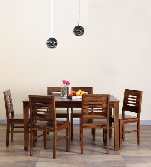 Buy Valencia Six Seater Dining Set In Provincial Teak Finish For Valencia 72 Inch 7 Piece Dining Sets (Image 6 of 25)