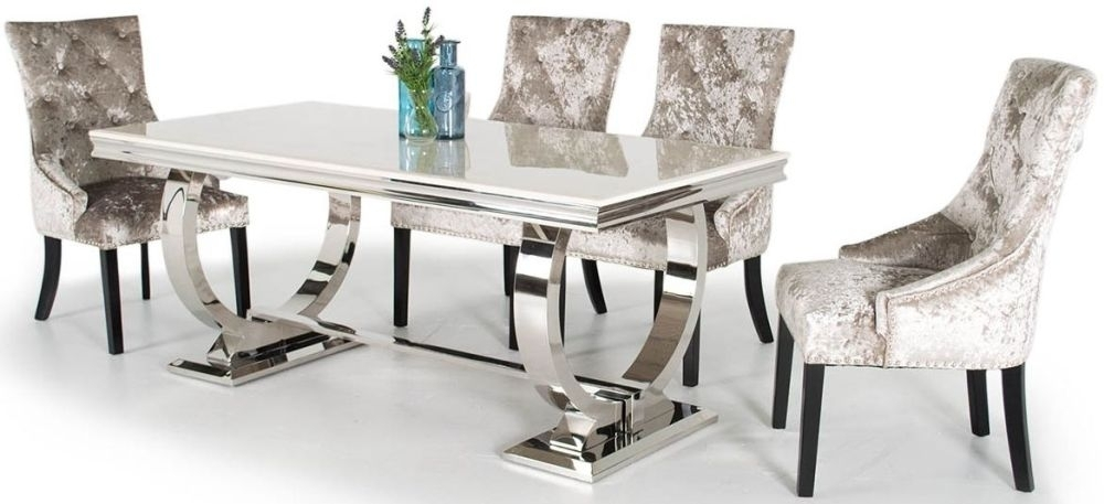 Buy Vida Living Arianna Cream Marble Rectangular Fixed Top With For Marble Dining Chairs (Image 5 of 25)