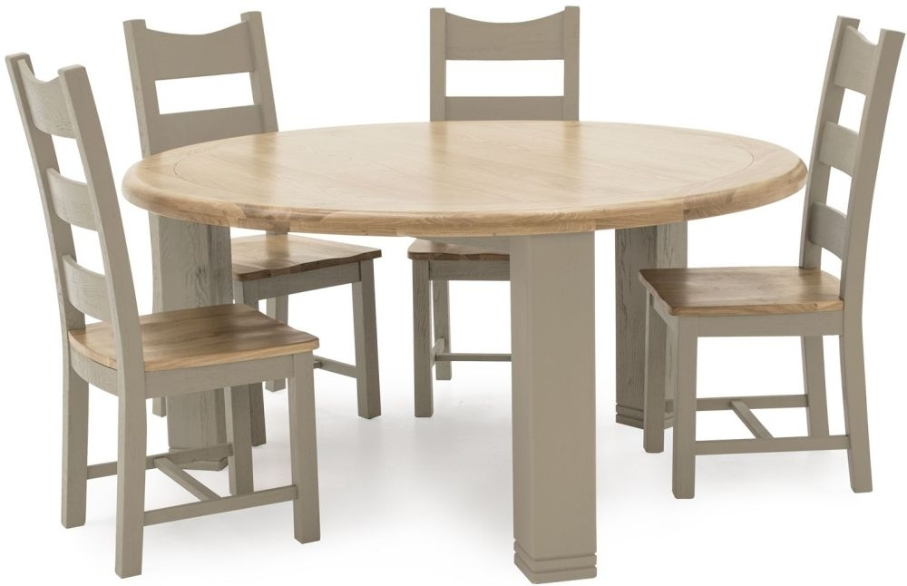 Buy Vida Living Logan Taupe Painted Round Fixed Top Dining Table In Logan Dining Tables (Image 2 of 25)
